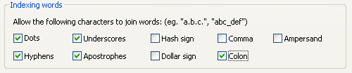 Indexing words configuration screenshot