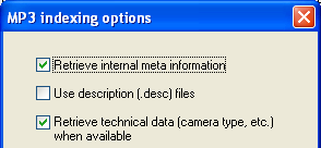 MP3 Indexing options screenshot