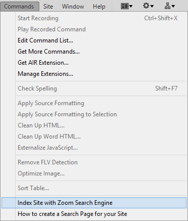 Zoom Search Engine - Dreamweaver Search Function Integration